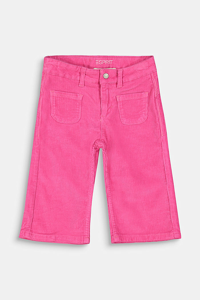 Corduroy culottes with adjustable waistband, PINK, detail image number 0