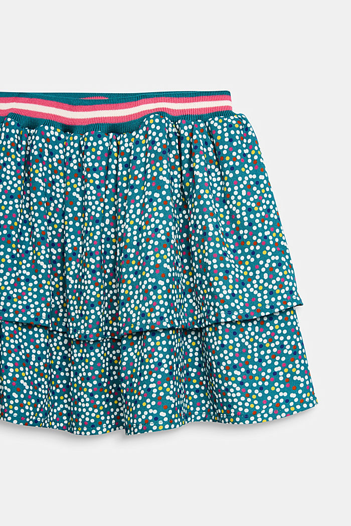 Tiered skirt with a polka dot print, DARK TEAL GREEN, detail image number 1