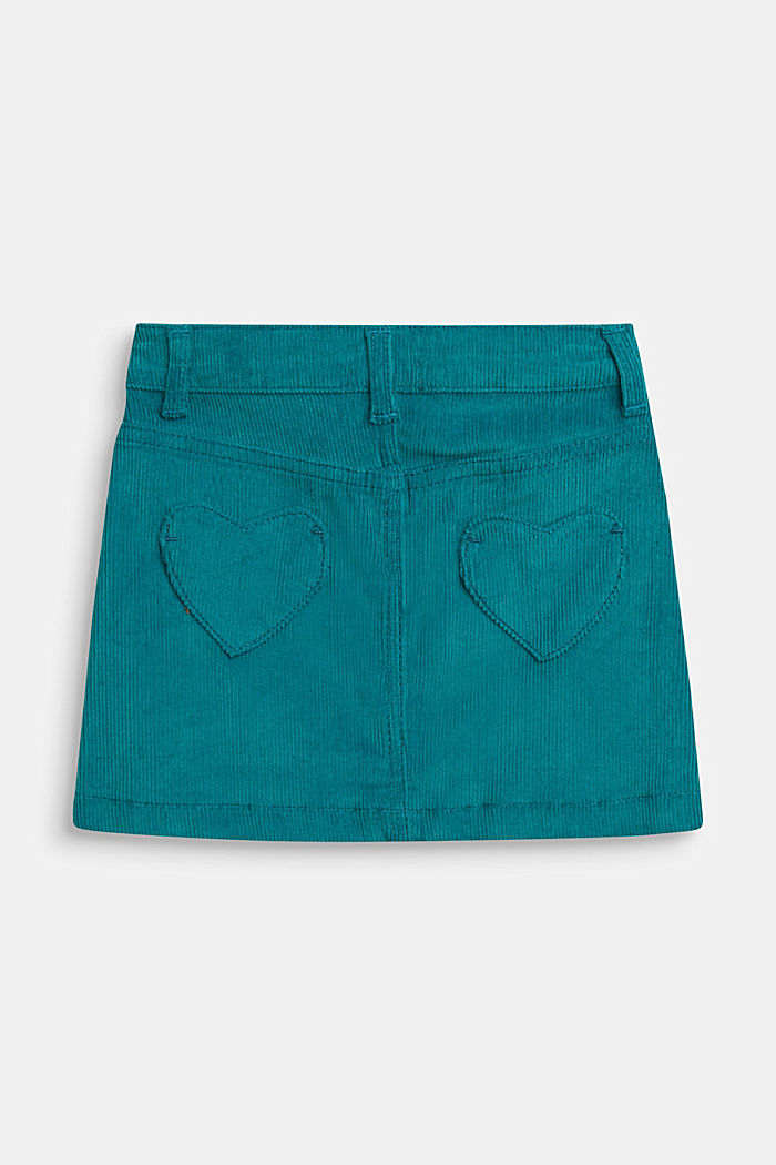 Corduroy skirt with heart pockets and adjustable waistband, DARK TEAL GREEN, detail image number 2