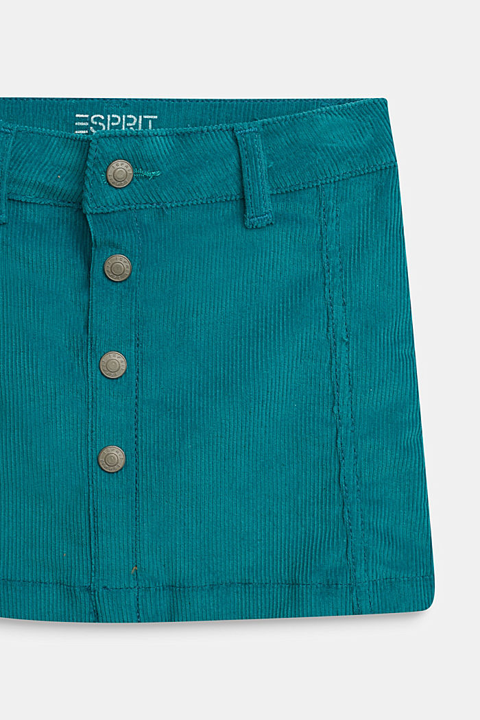 Corduroy skirt with heart pockets and adjustable waistband, DARK TEAL GREEN, detail image number 1