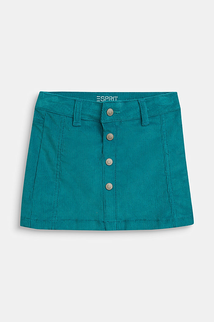 Corduroy skirt with heart pockets and adjustable waistband, DARK TEAL GREEN, detail image number 0
