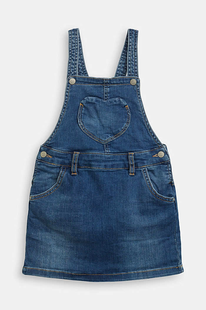 Denim pinafore with a heart pocket