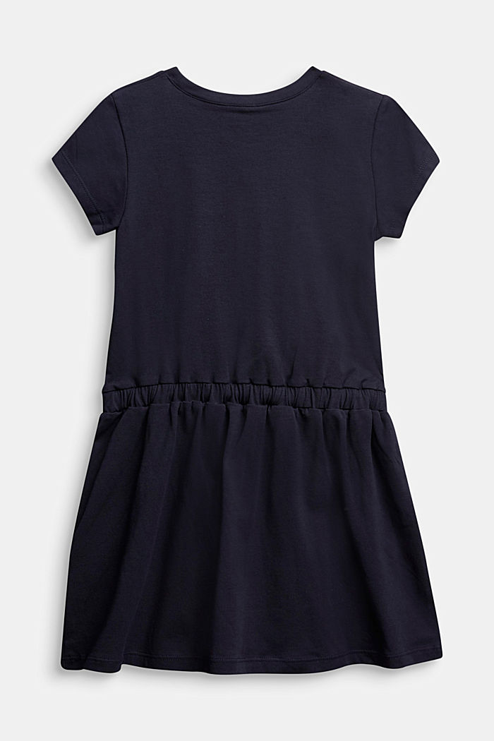 Jersey dress with a logo print, NAVY, detail image number 1