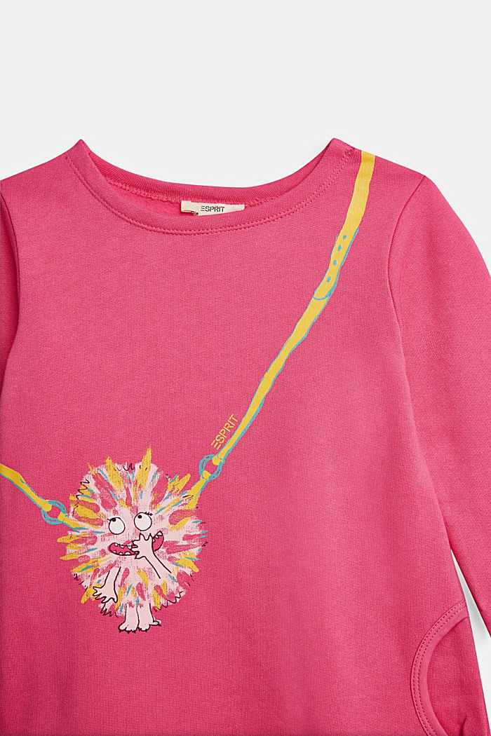 Sweatshirt dress with a monster print, 100% cotton, PINK, detail image number 2