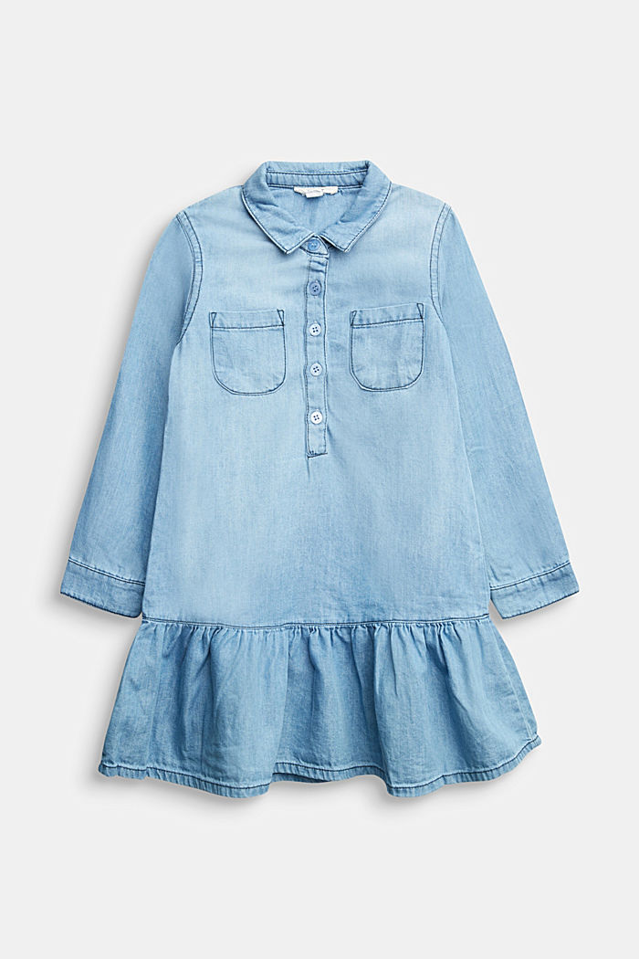 Denim dress with a flounce hem