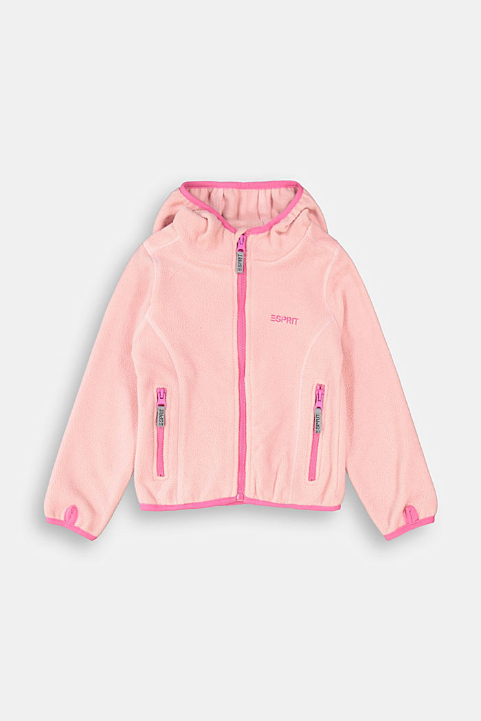 Fleece jacket with a hood, LIGHT PINK, detail image number 0