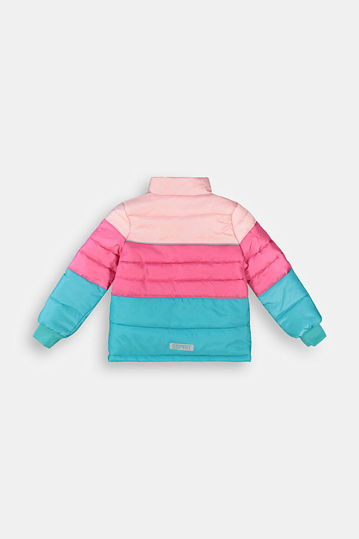 Colour block quilted jacket with fleece lining