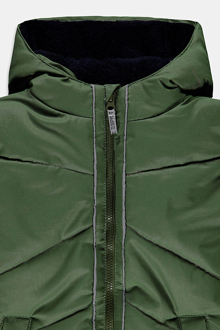 Coated quilted jacket with teddy fur lining and DuPont™ Sorona®, DARK KHAKI, detail image number 2