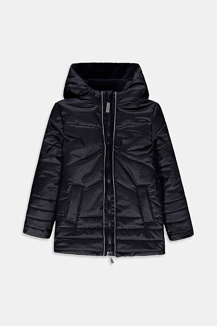 Coated quilted jacket with teddy fur lining and DuPont™ Sorona®, NAVY, detail image number 0