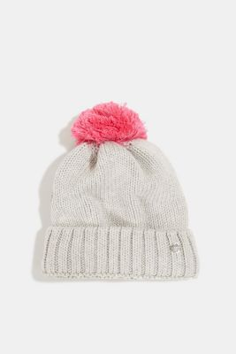 Knitted hat with a pompom, MEDIUM GREY, detail