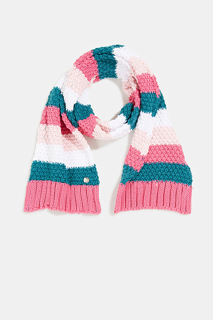 Striped scarf in blended cotton, PINK, overview