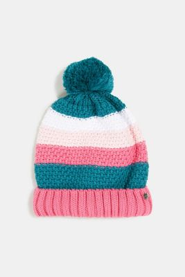 Knitted hat with a pompom, PINK, detail