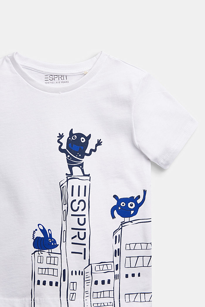 T-shirt with monster print, 100% cotton, WHITE, detail image number 2