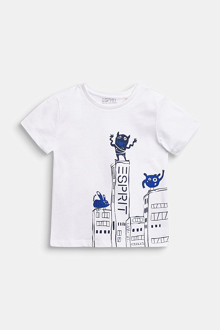 T-shirt with monster print, 100% cotton, WHITE, detail image number 0