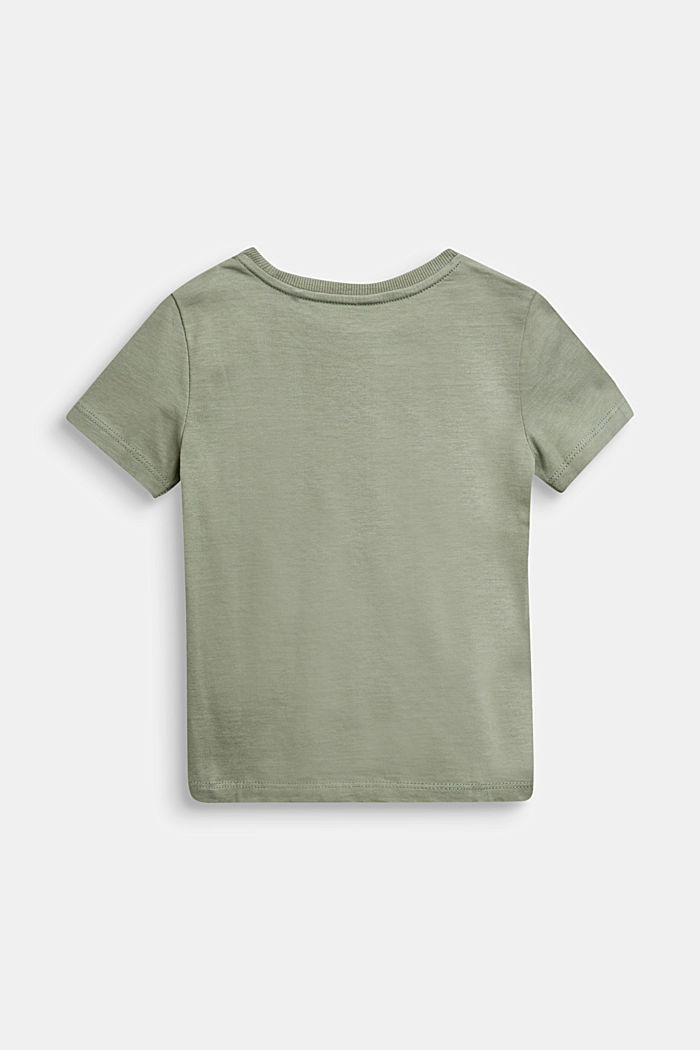 T-shirt with monster print, 100% cotton, DUSTY GREEN, detail image number 1