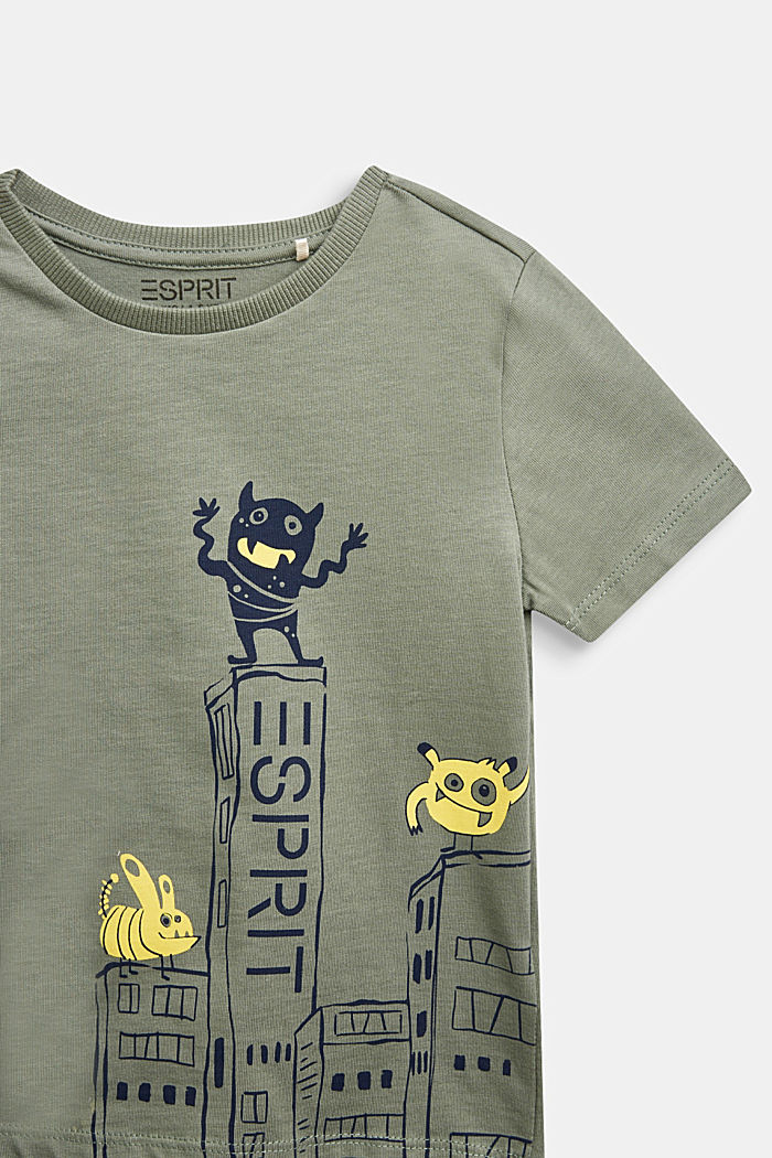 T-shirt with monster print, 100% cotton, DUSTY GREEN, detail image number 2