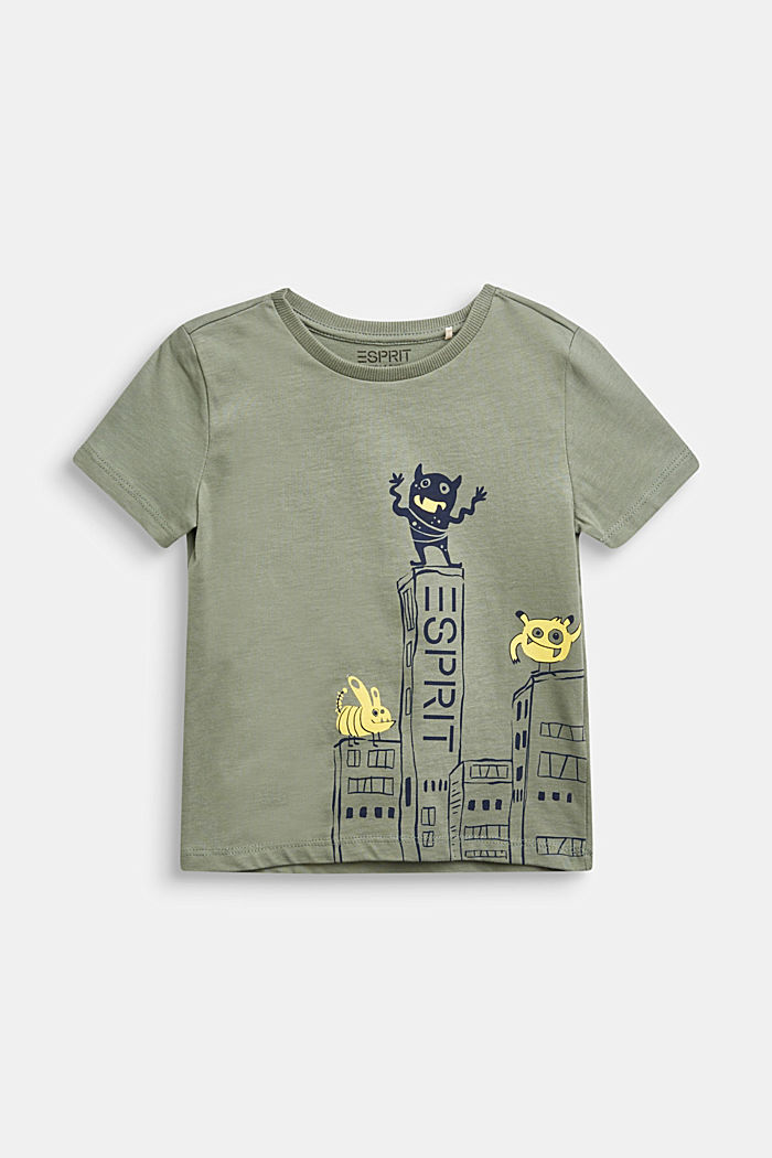 T-shirt with monster print, 100% cotton, DUSTY GREEN, detail image number 0