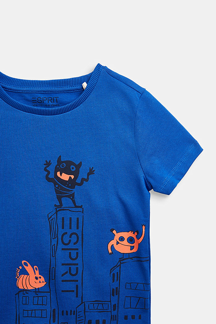 T-shirt with monster print, 100% cotton, BRIGHT BLUE, detail image number 2