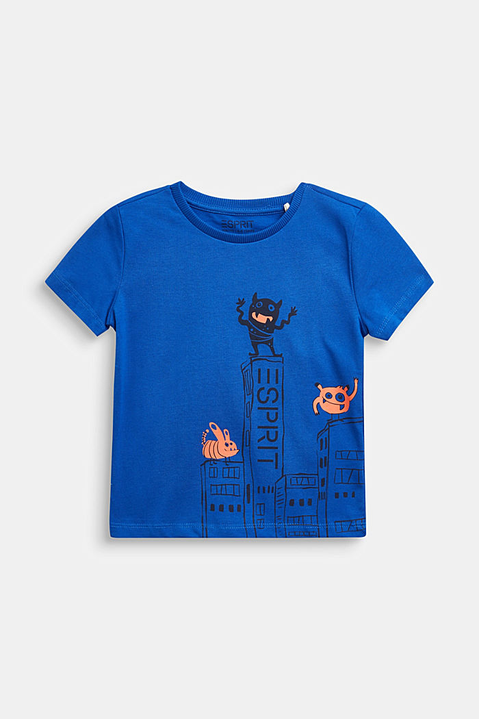T-shirt with monster print, 100% cotton, BRIGHT BLUE, detail image number 0