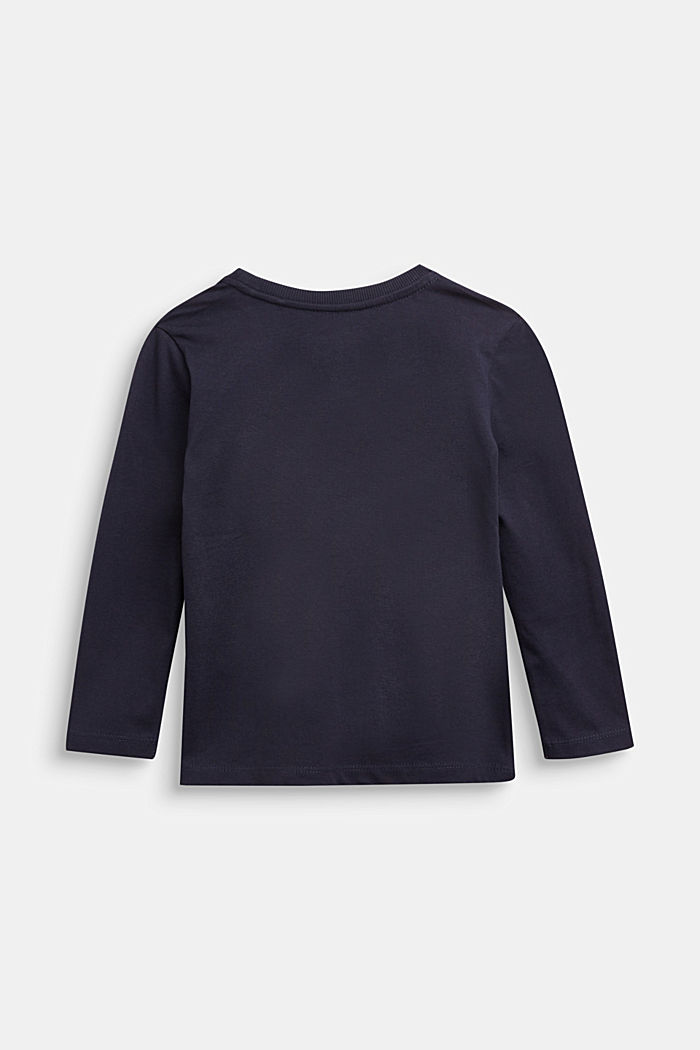Logo long sleeve top in 100% cotton, NAVY, detail image number 1