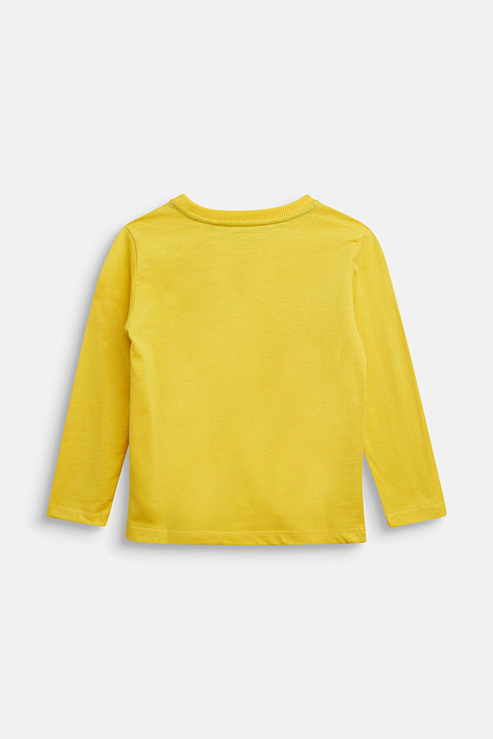 Logo long sleeve top in 100% cotton, YELLOW, detail image number 1