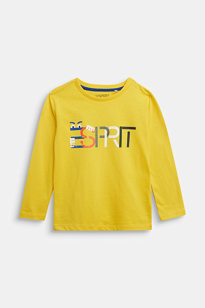 Logo long sleeve top in 100% cotton, YELLOW, detail image number 0