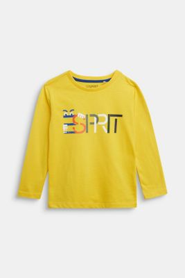 Logo long sleeve top in 100% cotton, YELLOW, detail