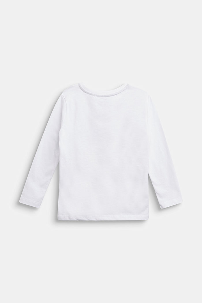 Long sleeve top made of 100% cotton, WHITE, detail image number 1