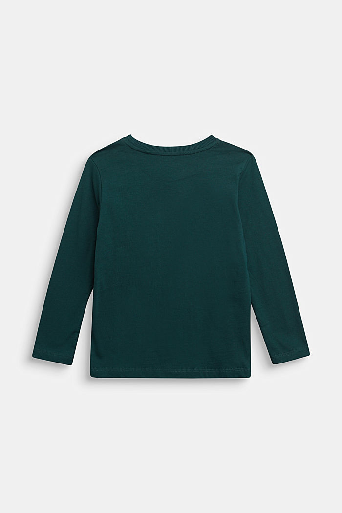 Long sleeve top made of 100% cotton, DARK GREEN, detail image number 1