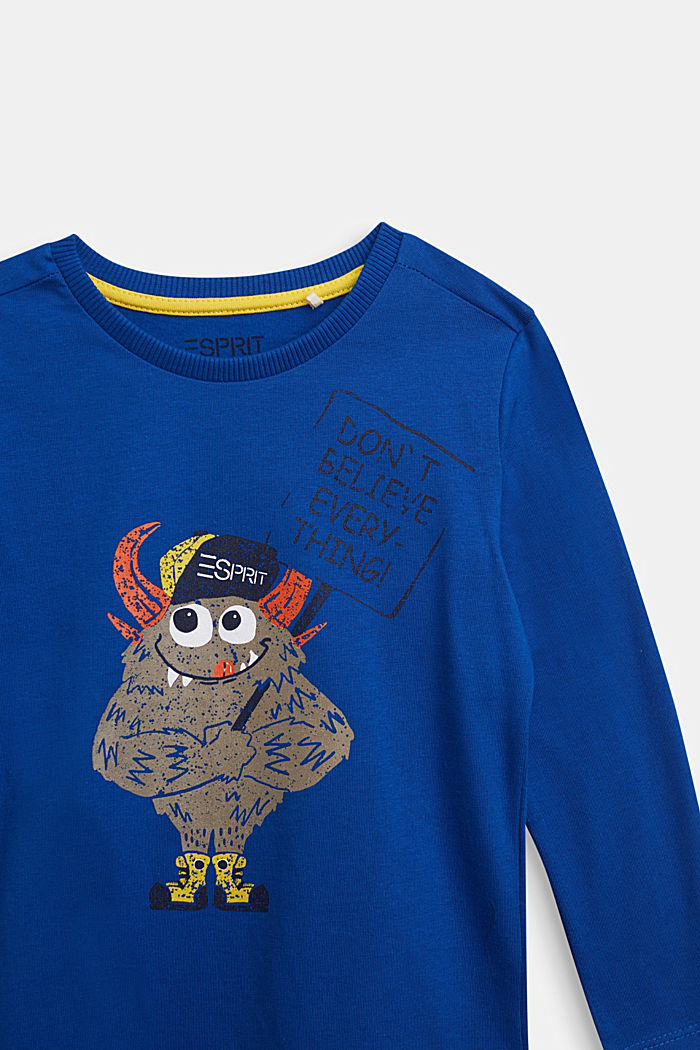 Long sleeve top made of 100% cotton, BRIGHT BLUE, detail image number 2