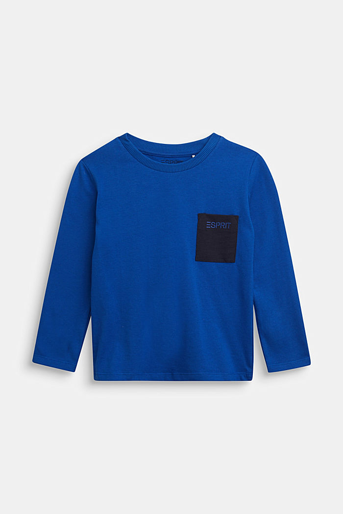 Long sleeve top made of 100% cotton, BRIGHT BLUE, detail image number 0