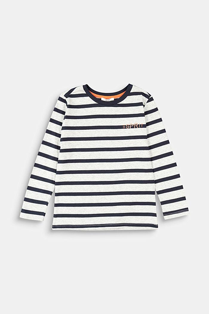 Striped long sleeve top, 100% cotton, MEDIUM GREY, detail image number 0