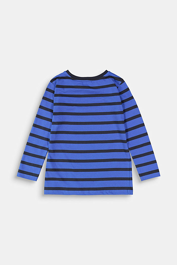 Striped long sleeve top, 100% cotton, BRIGHT BLUE, detail image number 1