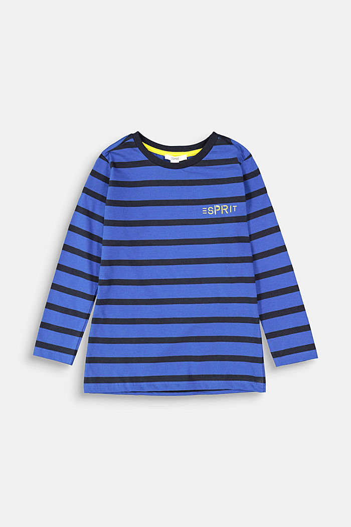 Striped long sleeve top, 100% cotton, BRIGHT BLUE, detail image number 0