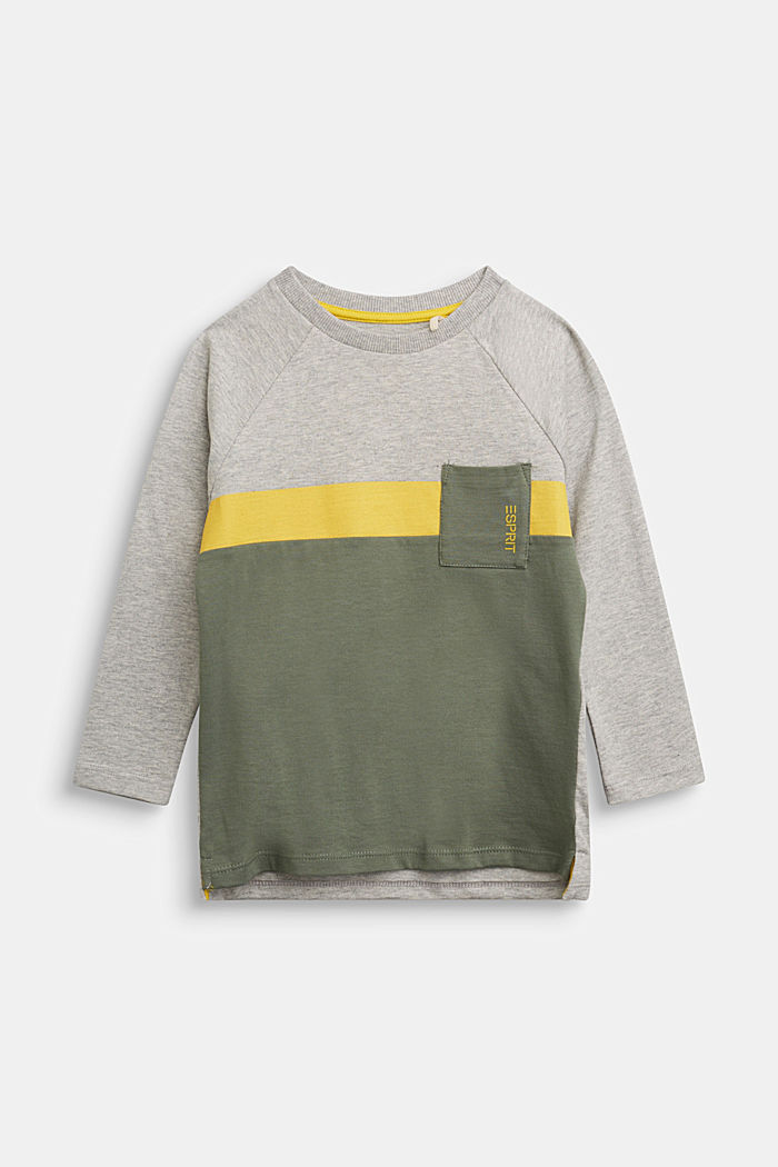 Colour block long sleeve top made of 100% cotton, MEDIUM GREY, detail image number 0