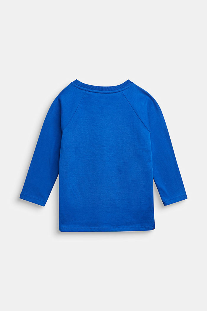 Colour block long sleeve top made of 100% cotton, BRIGHT BLUE, detail image number 1
