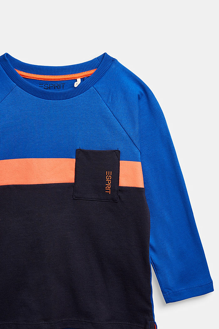 Colour block long sleeve top made of 100% cotton, BRIGHT BLUE, detail image number 2