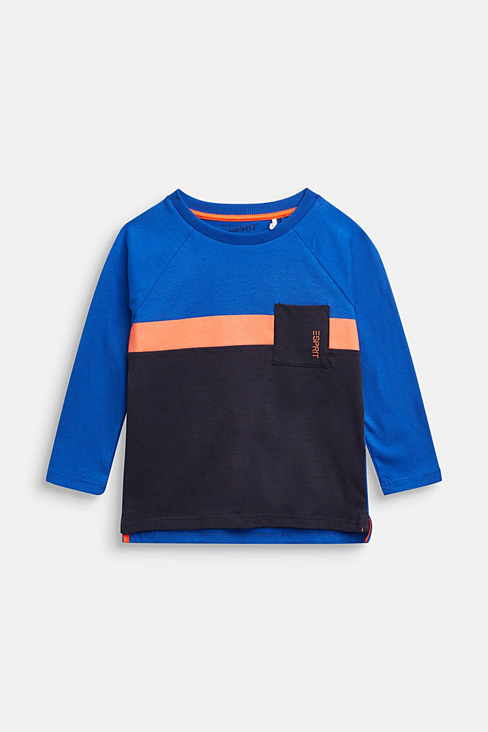 Colour block long sleeve top made of 100% cotton, BRIGHT BLUE, detail image number 0