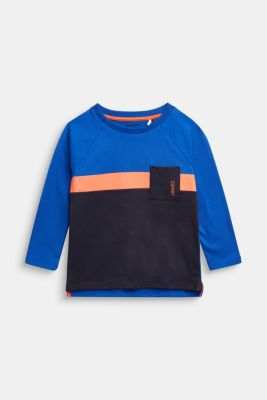 Colour block long sleeve top made of 100% cotton, BRIGHT BLUE, detail