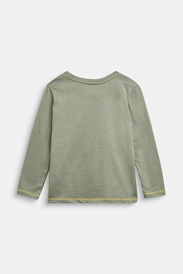 Long sleeve top with monster print, DUSTY GREEN, detail image number 1