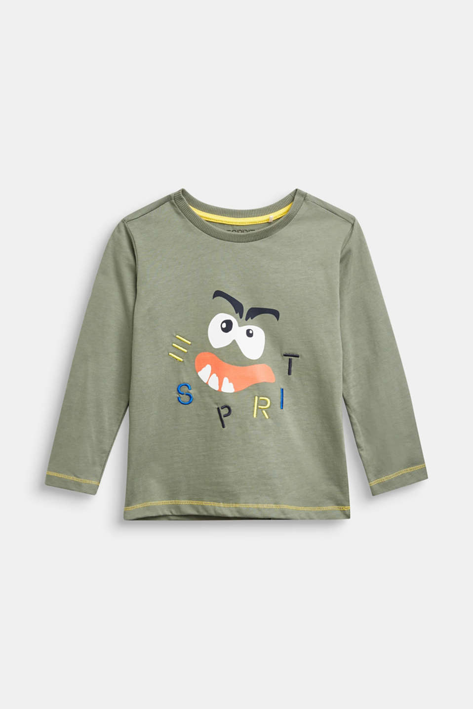 Esprit - Langærmet bluse med monsterprint