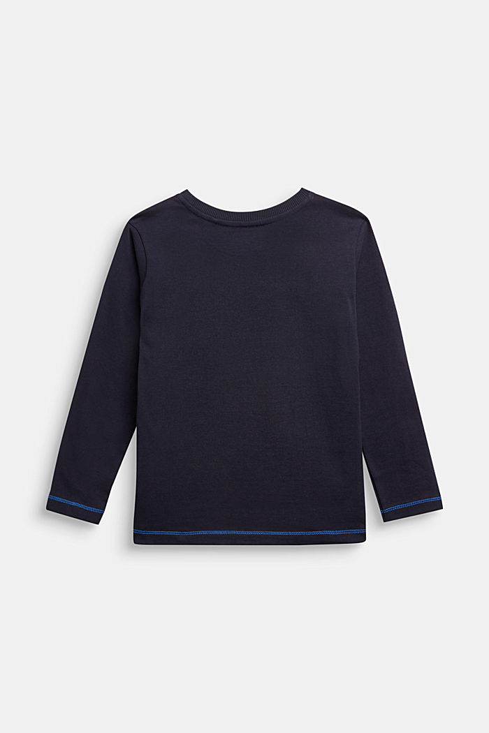 Long sleeve top with monster print, NAVY, detail image number 1