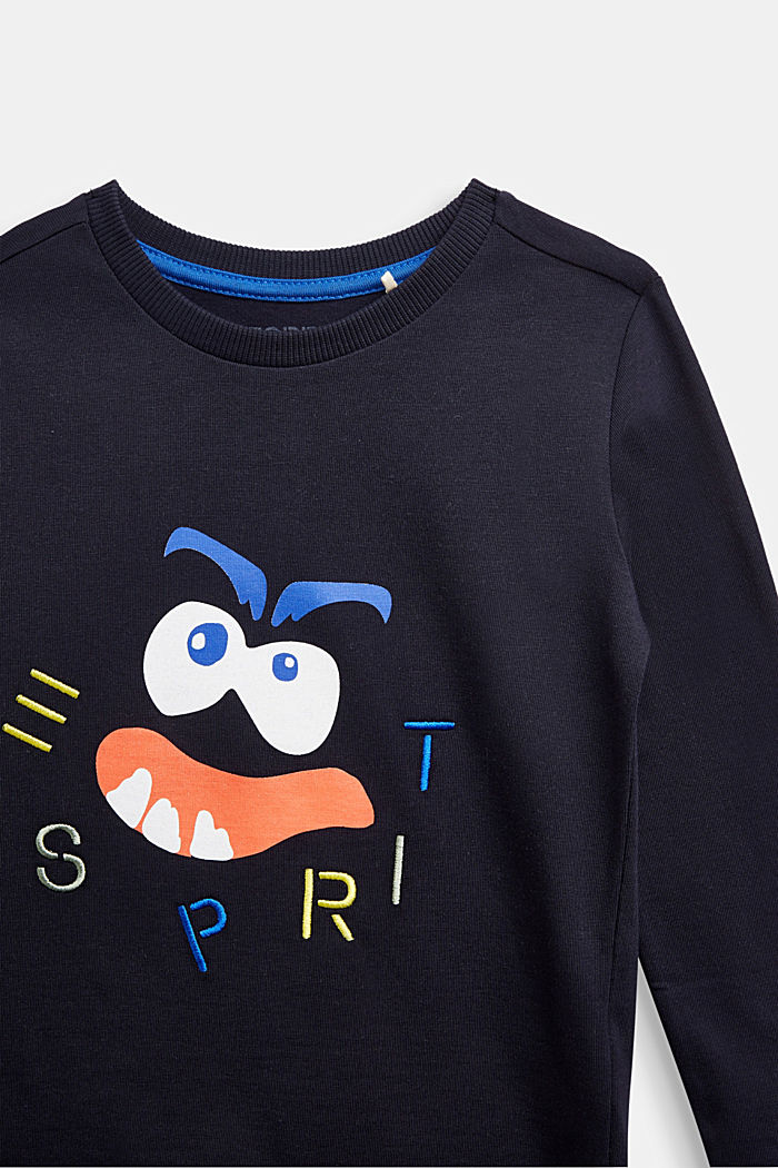 Long sleeve top with monster print, NAVY, detail image number 2