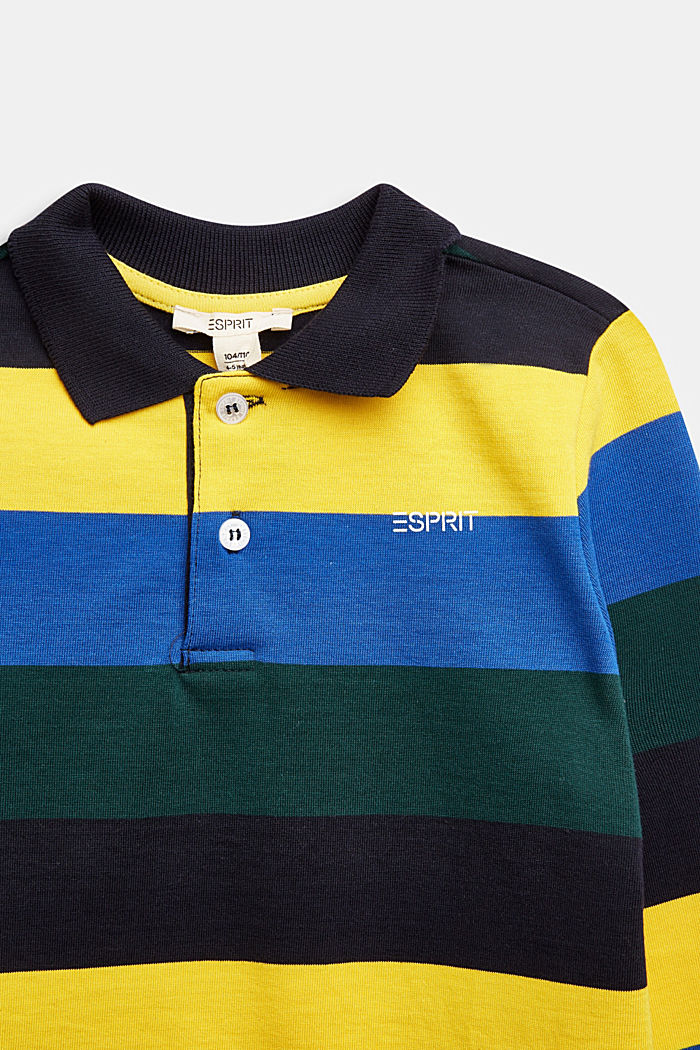 Long sleeve jersey polo shirt, 100% cotton, NAVY, detail image number 2