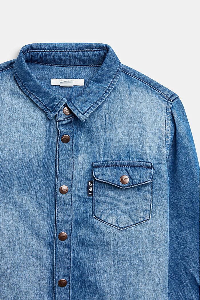 Denim shirt made of cotton/lyocell, BLUE LIGHT WASHED, detail image number 1