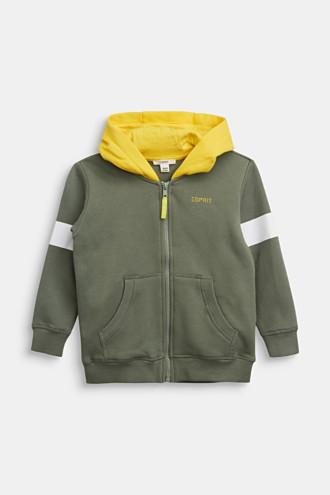 Sweatshirt cardigan in 100% cotton