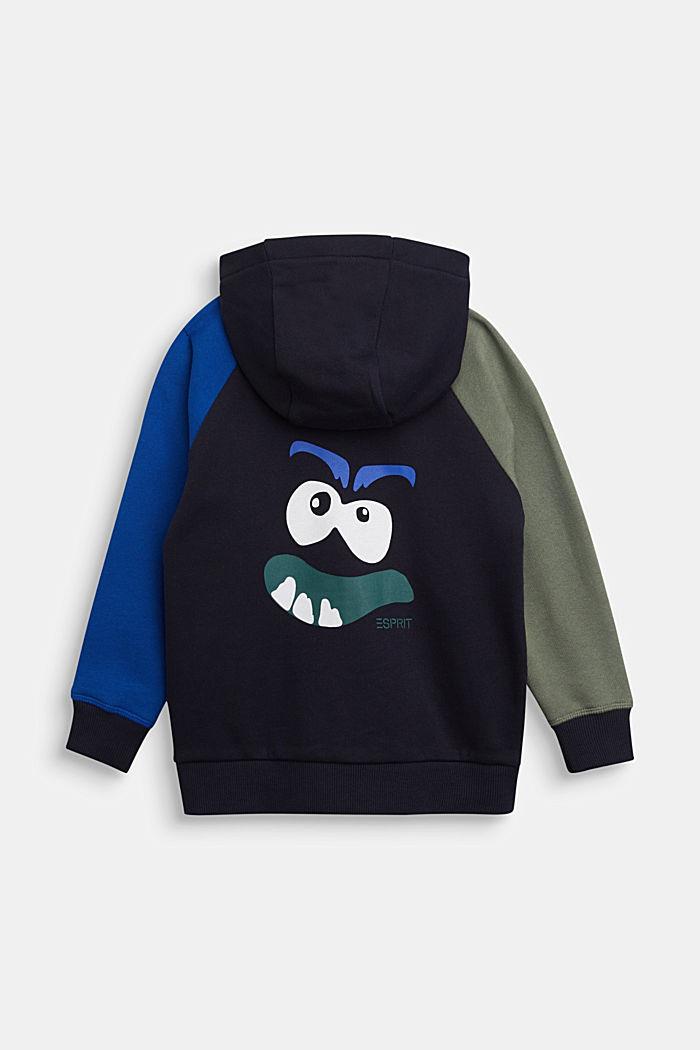 Sweatshirt cardigan in 100% cotton, NAVY, detail image number 1