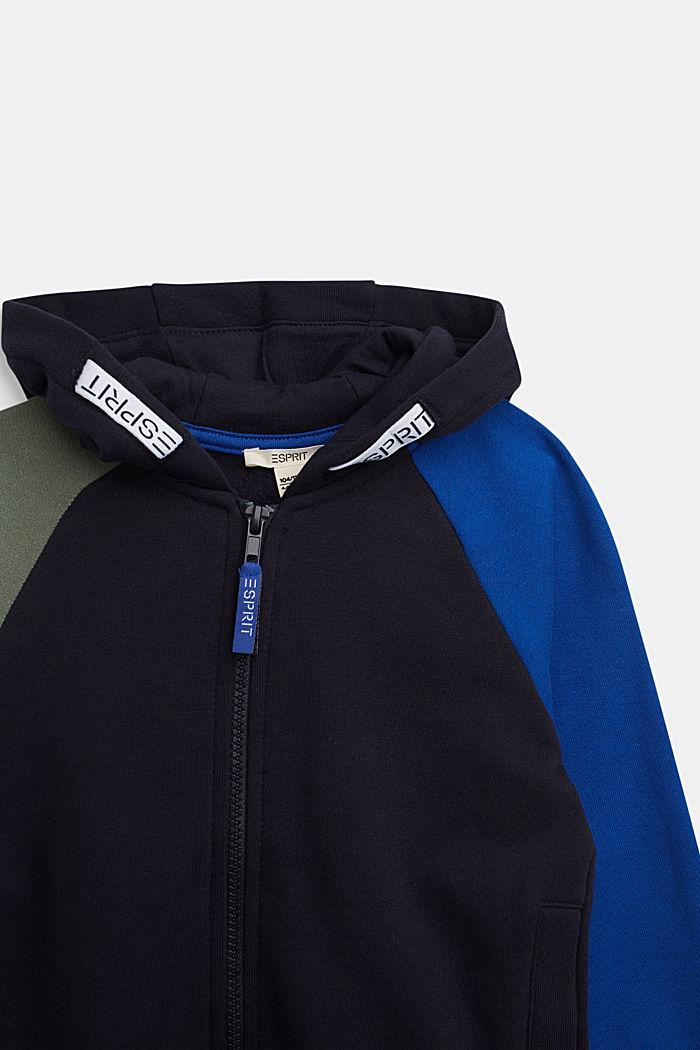 Sweatshirt cardigan in 100% cotton, NAVY, detail image number 2