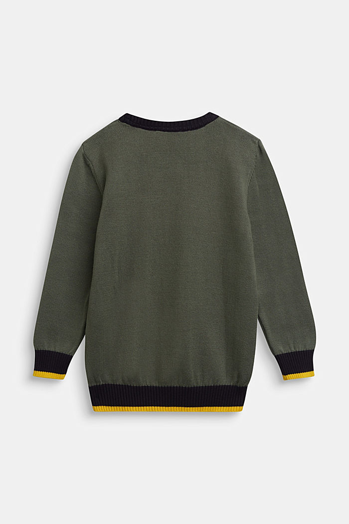 100% cotton jumper, DUSTY GREEN, detail image number 1