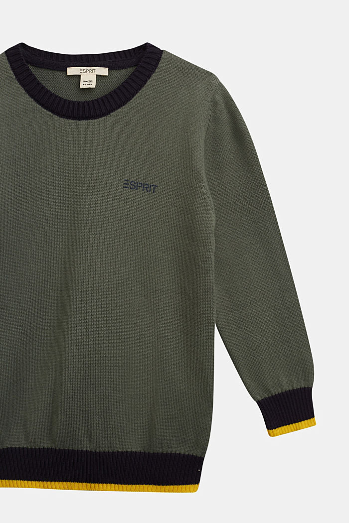 100% cotton jumper, DUSTY GREEN, detail image number 2